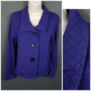 small purple/black jacket read measurement